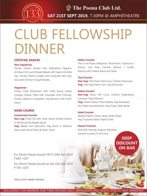 CLUB FELLOWSHIP DINNER – SEPT 2019