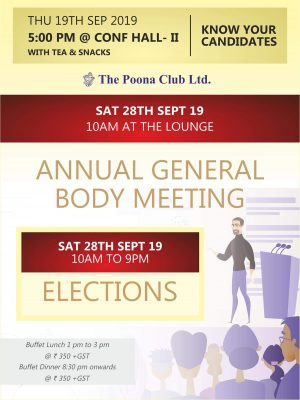 ANNUAL GENERAL BODY MEETING – SEPT 2019