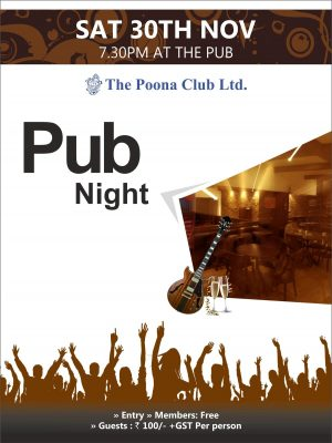 PUB NIGHT – 30TH NOV 2019
