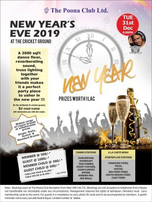 NEW YEAR'S EVE 2019 – 31ST DEC 2019