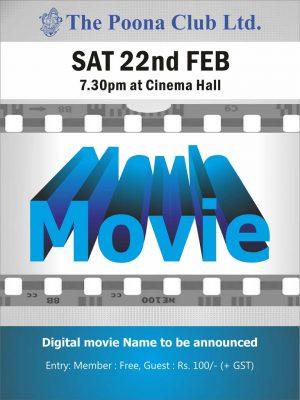 MOVIE NIGHT – SATURDAY 22ND FEB 2020