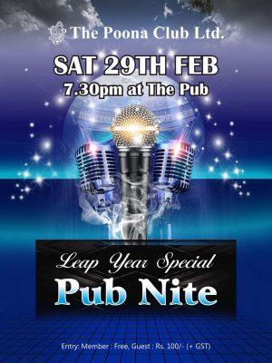 PUB NIGHT – SATURDAY 29ND FEB 2020