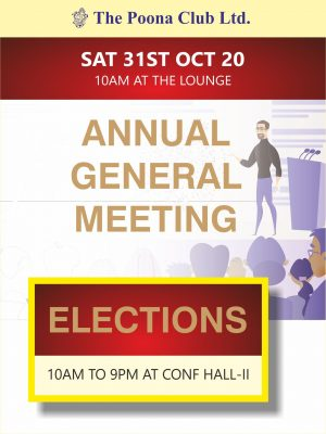ANNUAL GENERAL MEETING – SATURDAY 31ST OCT 2020
